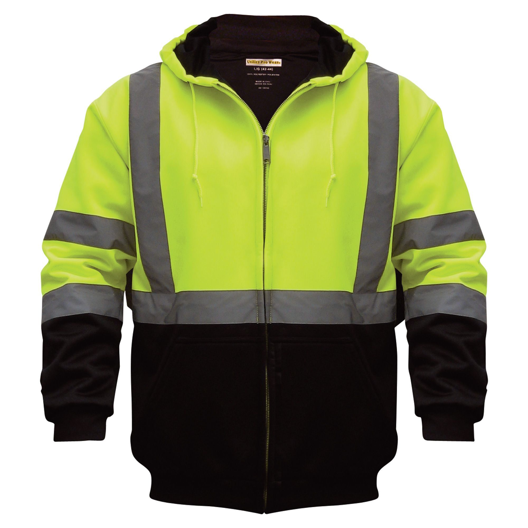 Class 3 HighVisibility Hooded ZipUp Sweatshirt with