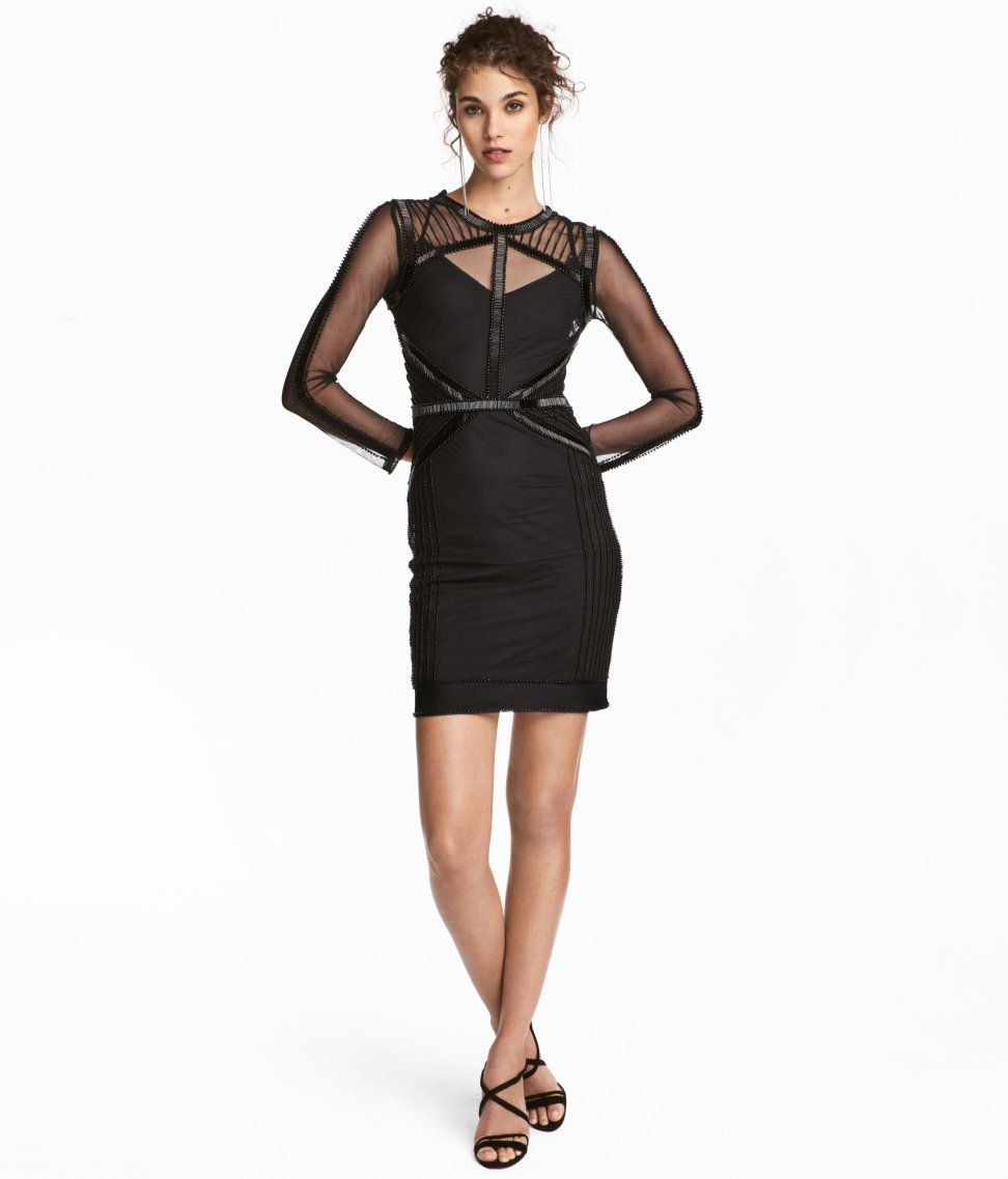 Check this out short fitted dress in mesh with beaded embroidery