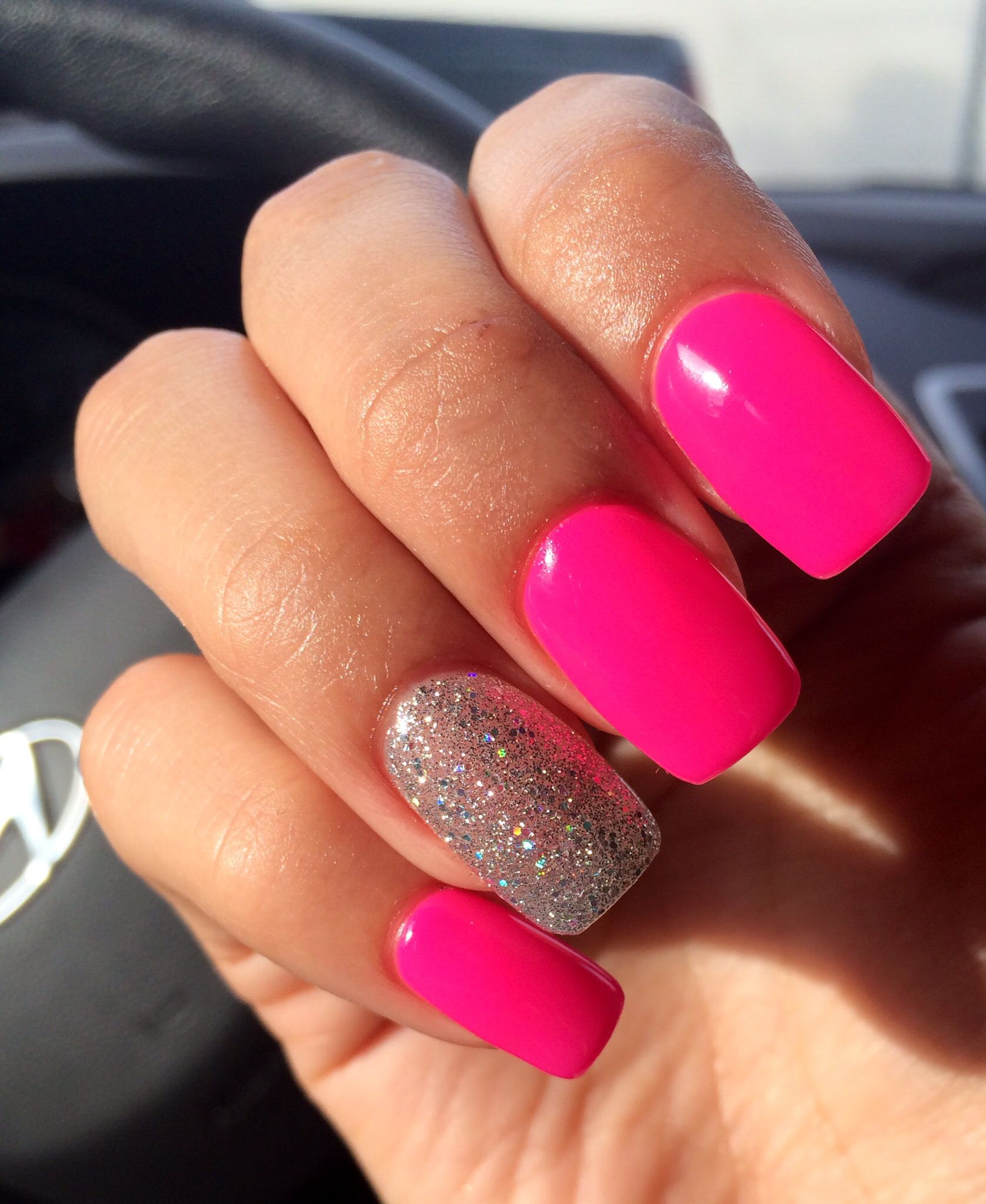 Acrylic Nails Hot Pink Gel With Silver Clear Glitter With