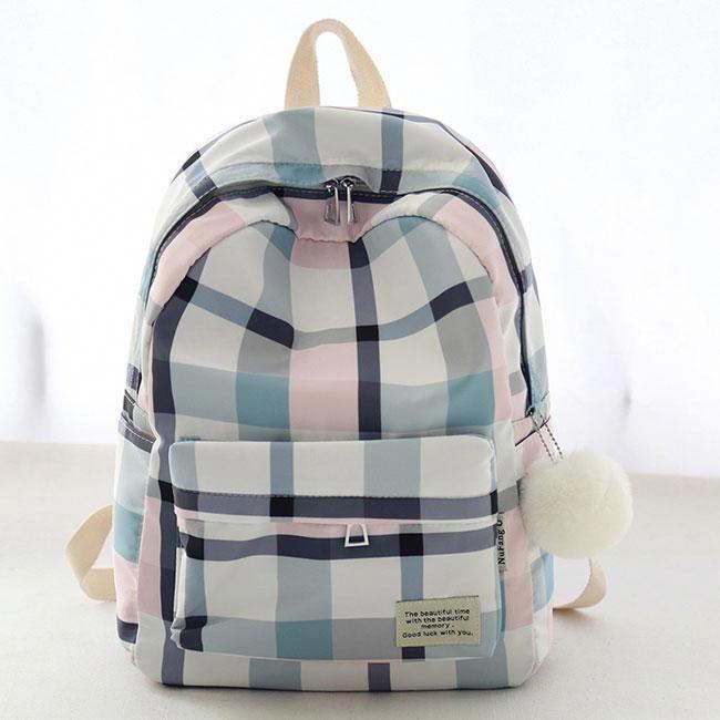 New Lattice School Bag Grid Large College Canvas Backpack #backpacks