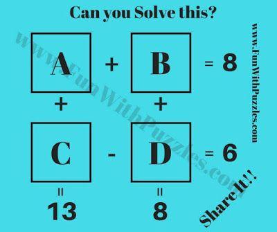 Simple Maths IQ Question Puzzle | Math Brain Teasers | Pinterest ...
