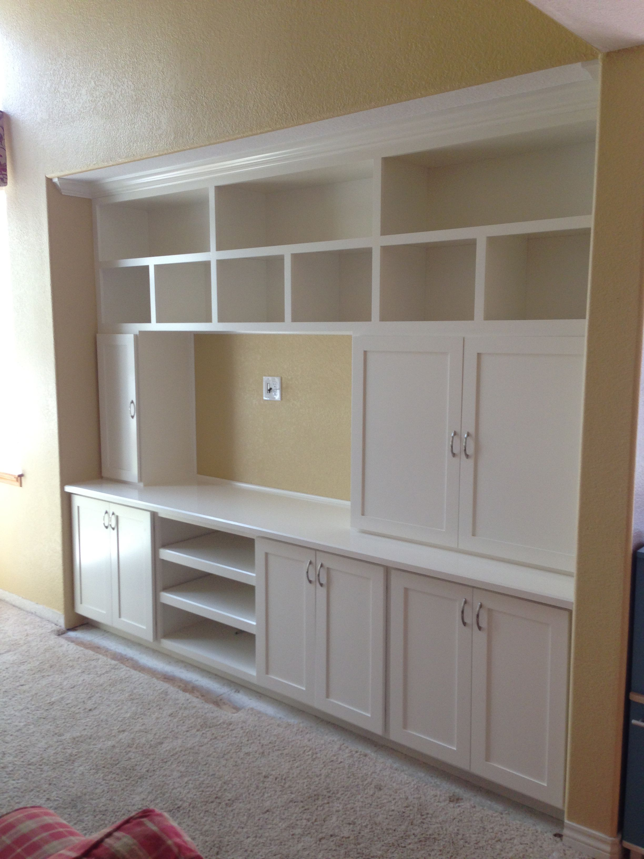 Shaker Style Entertainment Center W Open Media Cabinet Entertainment Center Entertainment Center Diy Plans Media Cabinet