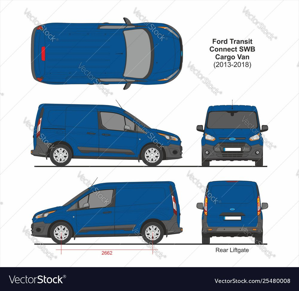 Ford Transit Connect Swb Cargo 5 Doors 2013 2018 Vector Image On