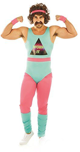 95c70af25b230 80s Fitness Instructor Mens Fancy Dress Neon Aerobics Sports Adults Costume  New 80 s Fitness Instructor Mens