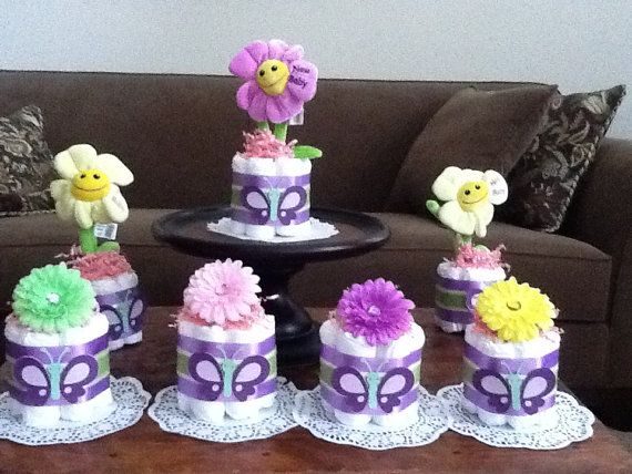 Butterfly Flower Diaper Cake Baby Shower Centerpieces Mini And Bundt Sizes  Available On Etsy, $9.99