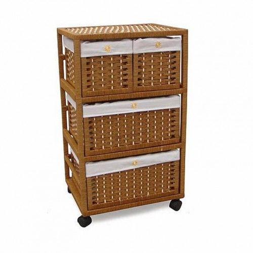 Mueble de mimbre color miel 3 alturas caixas cestas e for Muebles de mimbre
