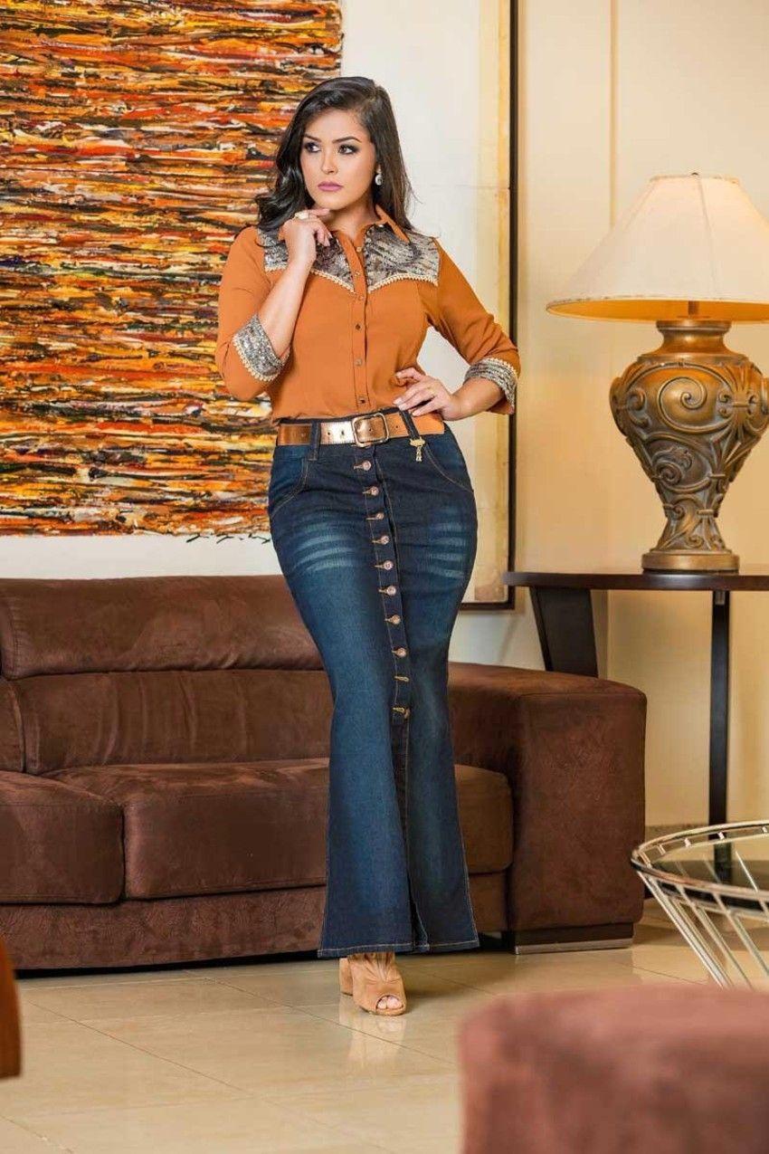 30827a0171c Saia Sereia da Raje Jeans ✓Troca Grátis. ✓ Melhores marcas de moda  evangélica. ✓ Até 3x sem Juros
