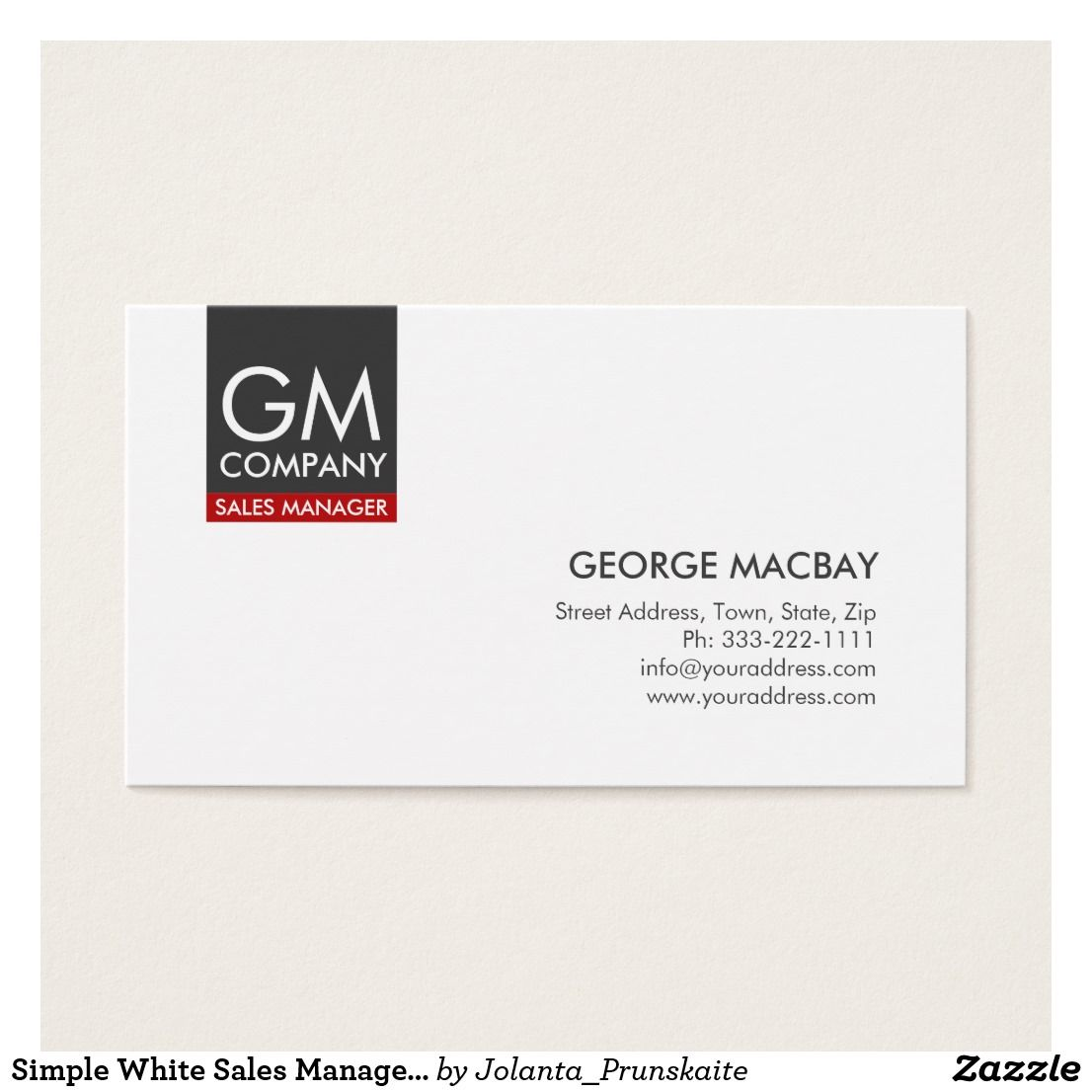 Simple White Sales Manager Monogram Business Card Zazzle Com Sales Manager Business Cards Business