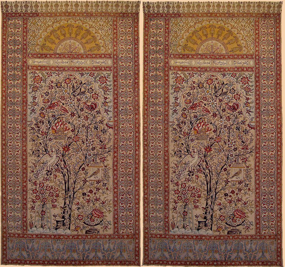 Isfahan Qalamkar Blocked Print Painting In The Center