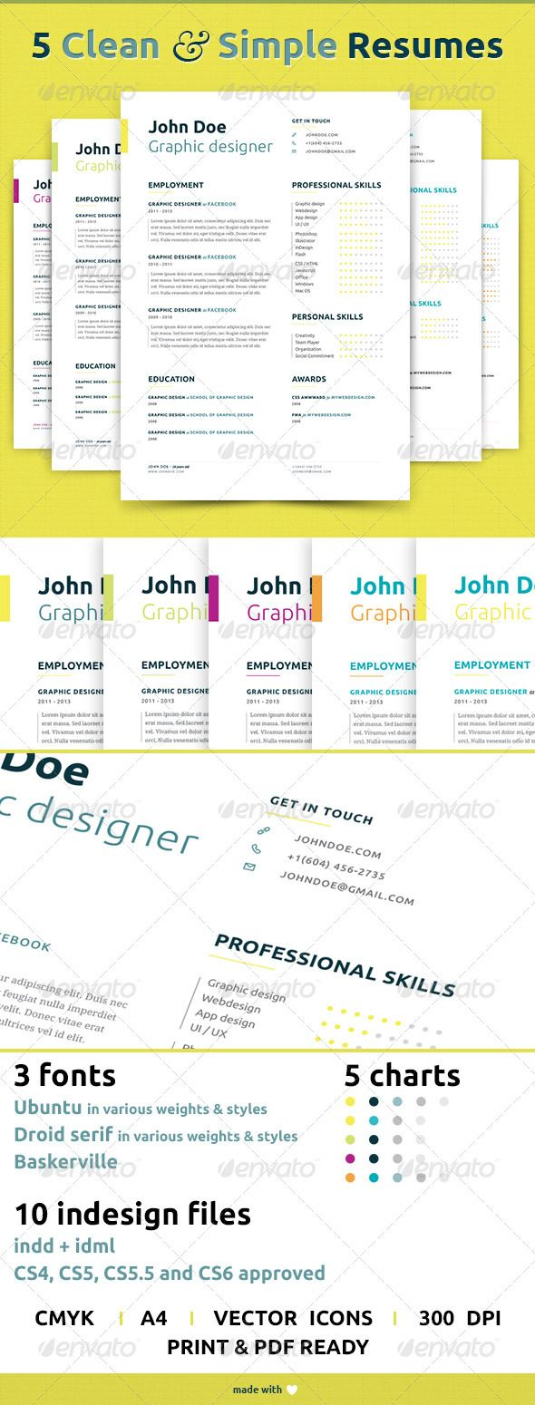 5 Clean and Simple Resumes | Currículum