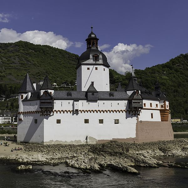The Toll Castle in Kaub, Germany, sits on its own little island in the middle of the Rhine. It looks very much like a boat or ship and collected tolls for centuries!