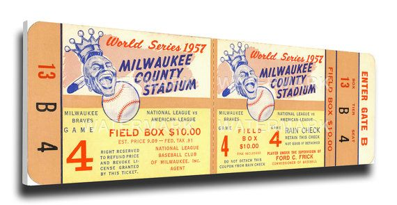 1957 World Series Game 4 Canvas Mega Ticket - Milwaukee Braves