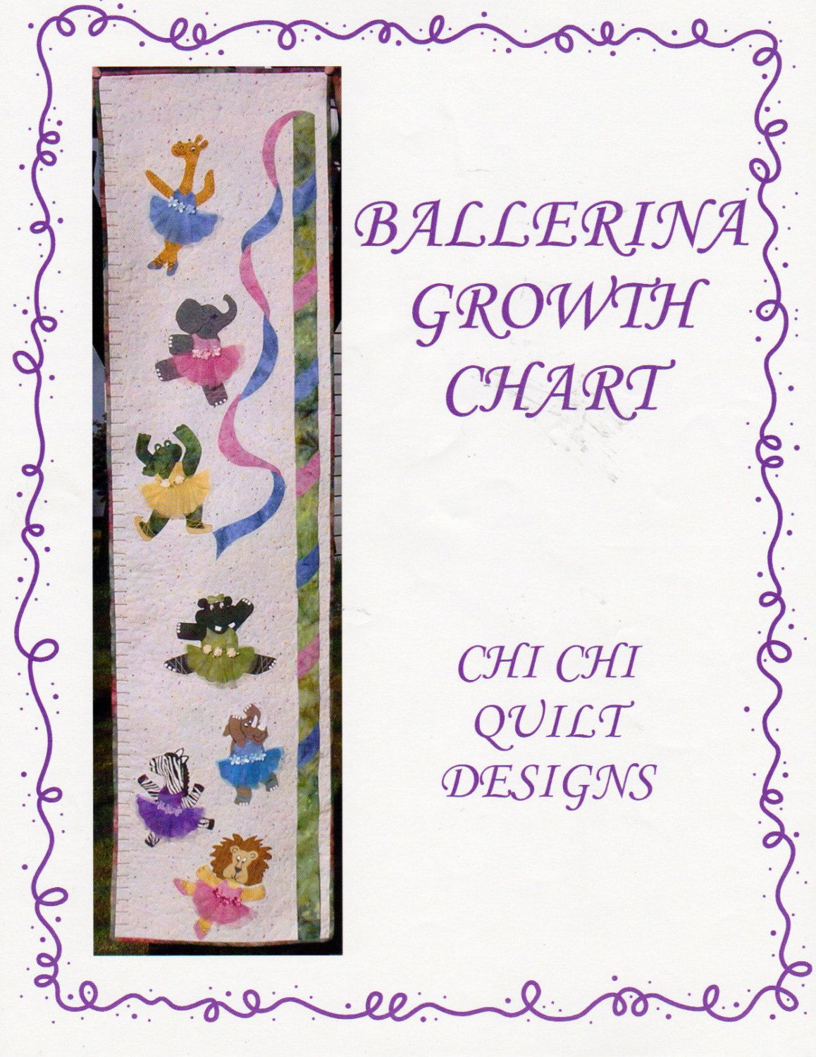 Appliqued Tutus On Animals Quilted Ballerina Growth Chart Pattern