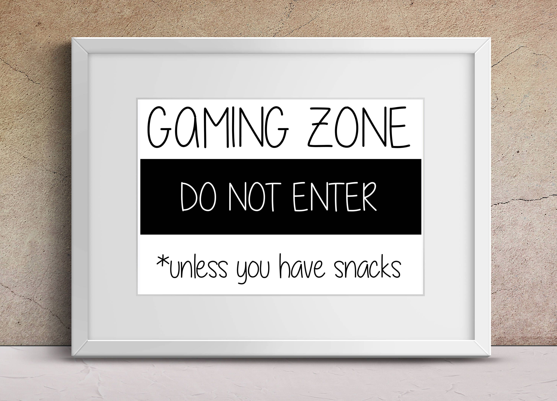 Gamer art, gaming zone do not enter, bedroom print, boys room art images