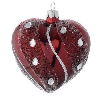 88b3263b53e Bola de Navidad corazón de vidrio soplado granate y decoraciones plata 100  mm