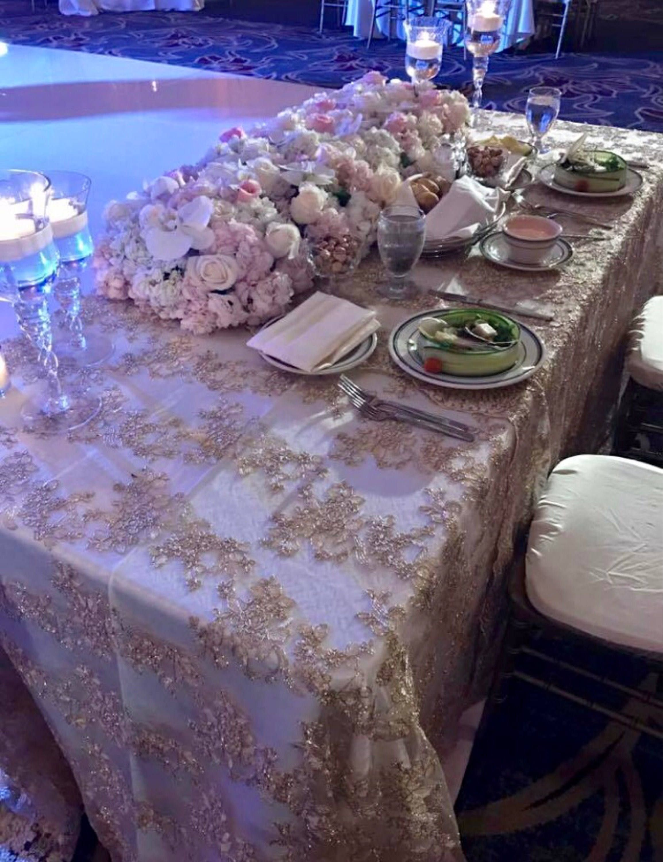 Vintage Wedding Table Cloth, Gold Tablecloth, Overlay,lace Tablecloth, Table  Runner,