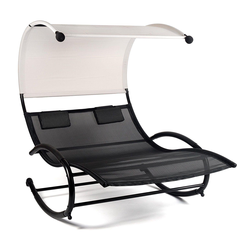 Ampel 24, Sedia a sdraio PANAMA bianca con tenda da sole