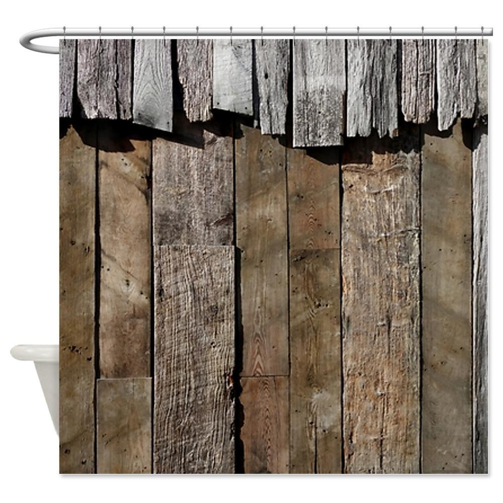 Rustic old barn wood decorative fabric shower curtain