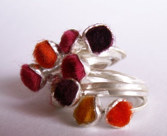Felted wool/sterling silver rings stack by Shabana Jacobson