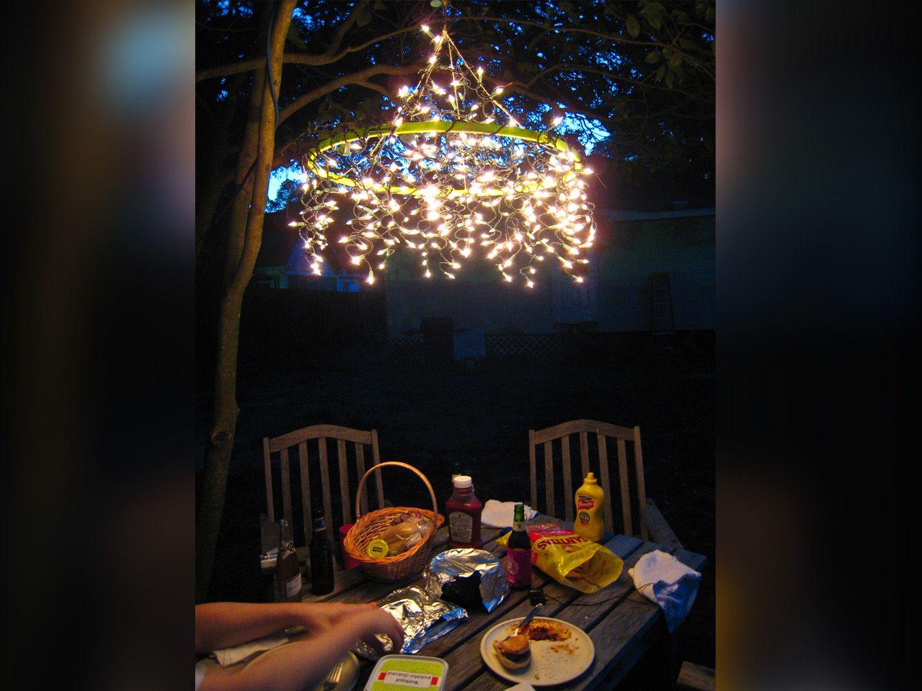 Fairy light Hula Hoop Chandelier ideas
