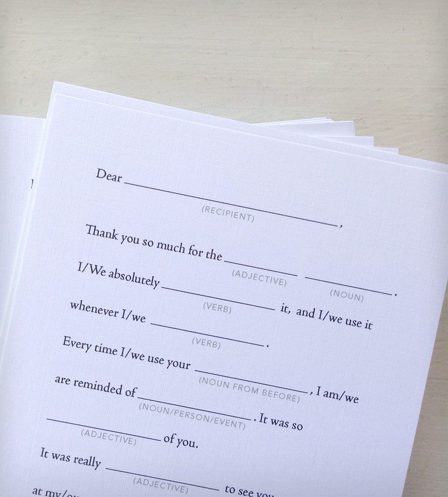 Mad Libs Thank You Cards by Earmark Social! She's so talented