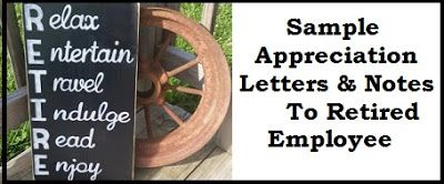 Appreciation Messages  Appreciation Letter To Retired Employee