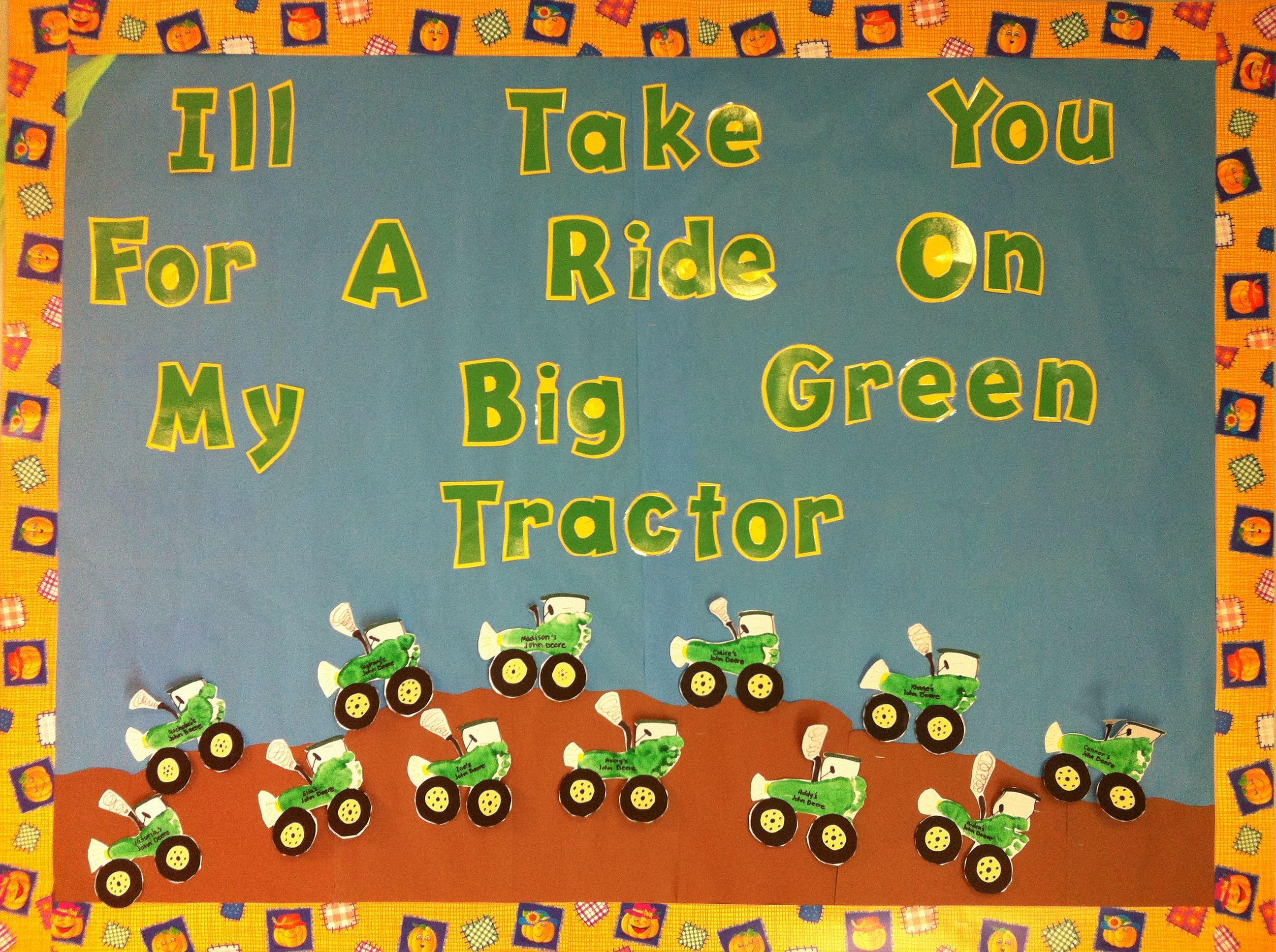 Tractor farm bulletin board. Footprint tractors. | Farm theme ...