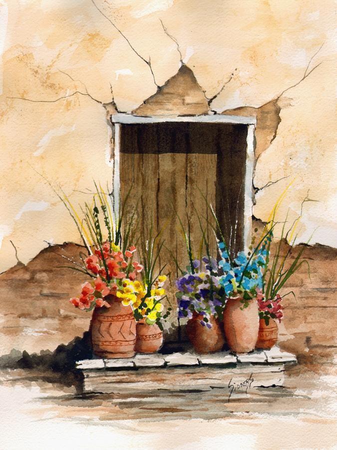 Door With Flower Pots Flower pot art, Painting, Art