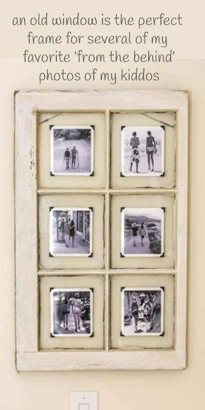 An old window frame is upcycled into a unique photo display. Love ...