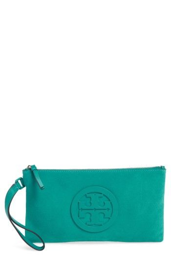 1f968465a5d TORY BURCH CHARLIE SUEDE WRISTLET CLUTCH - GREEN.  toryburch  bags ...