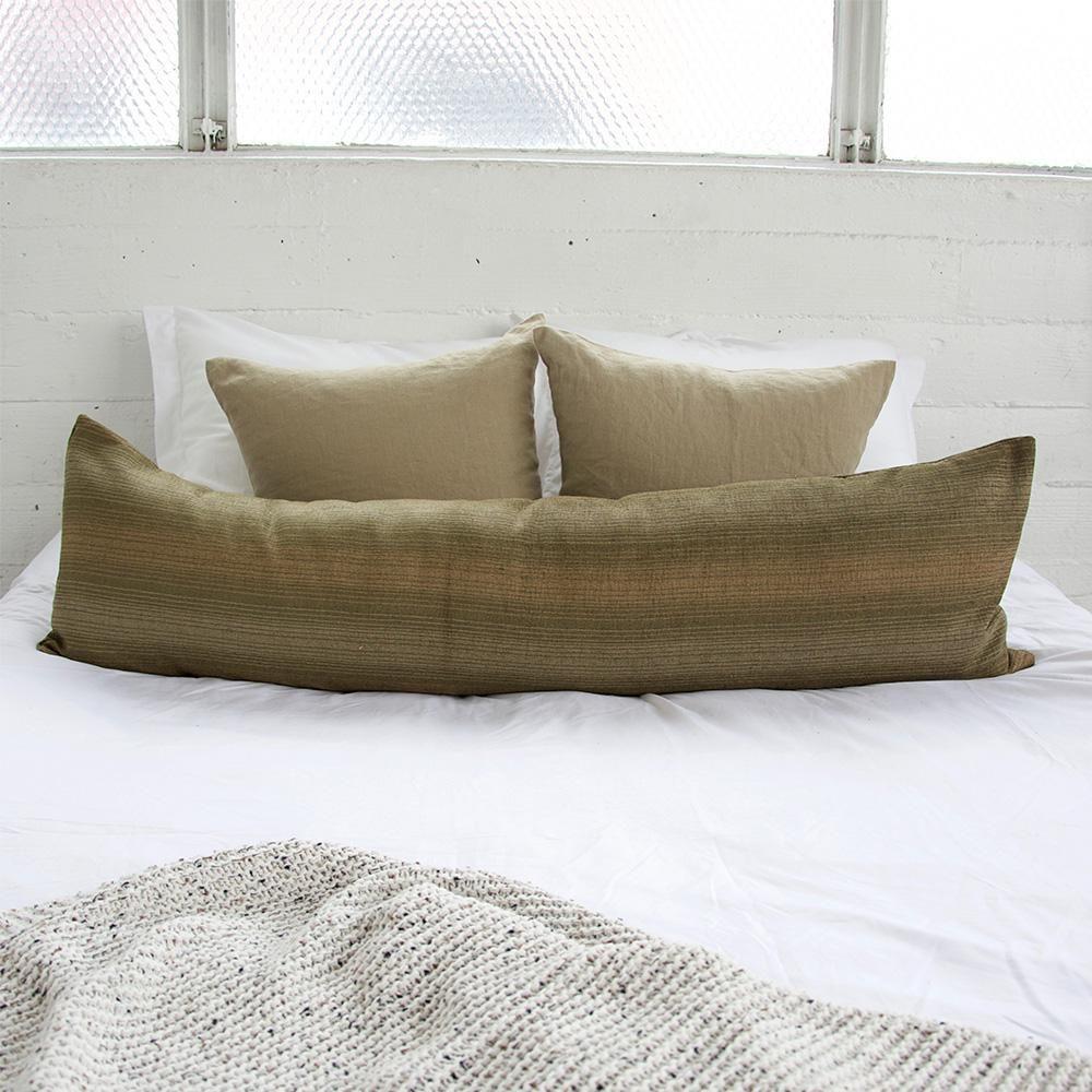 Green & Tan Striped Extra Long Lumbar Pillow 14x50