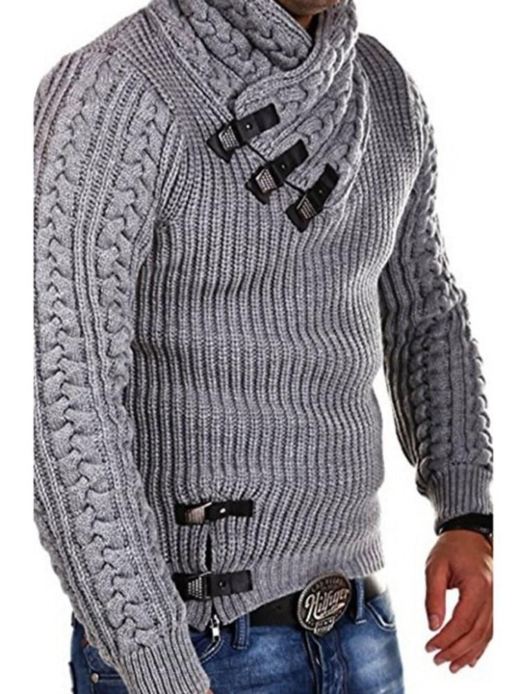WNSY Men Slim Fit Solid Turtleneck Sweater Knit Pullover Sweaters
