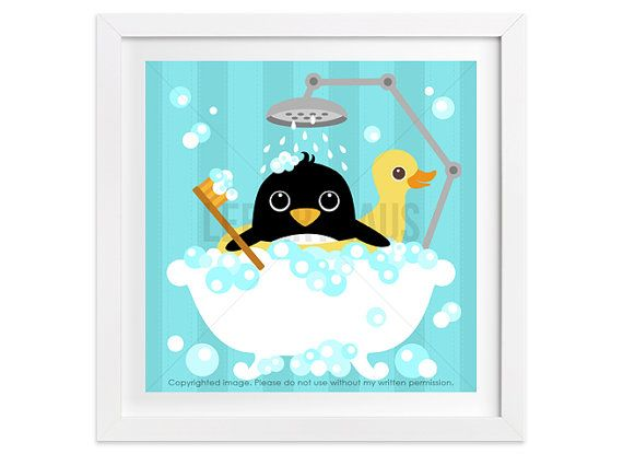 40a Bathroom Print Penguin In Bathtub Wall Art