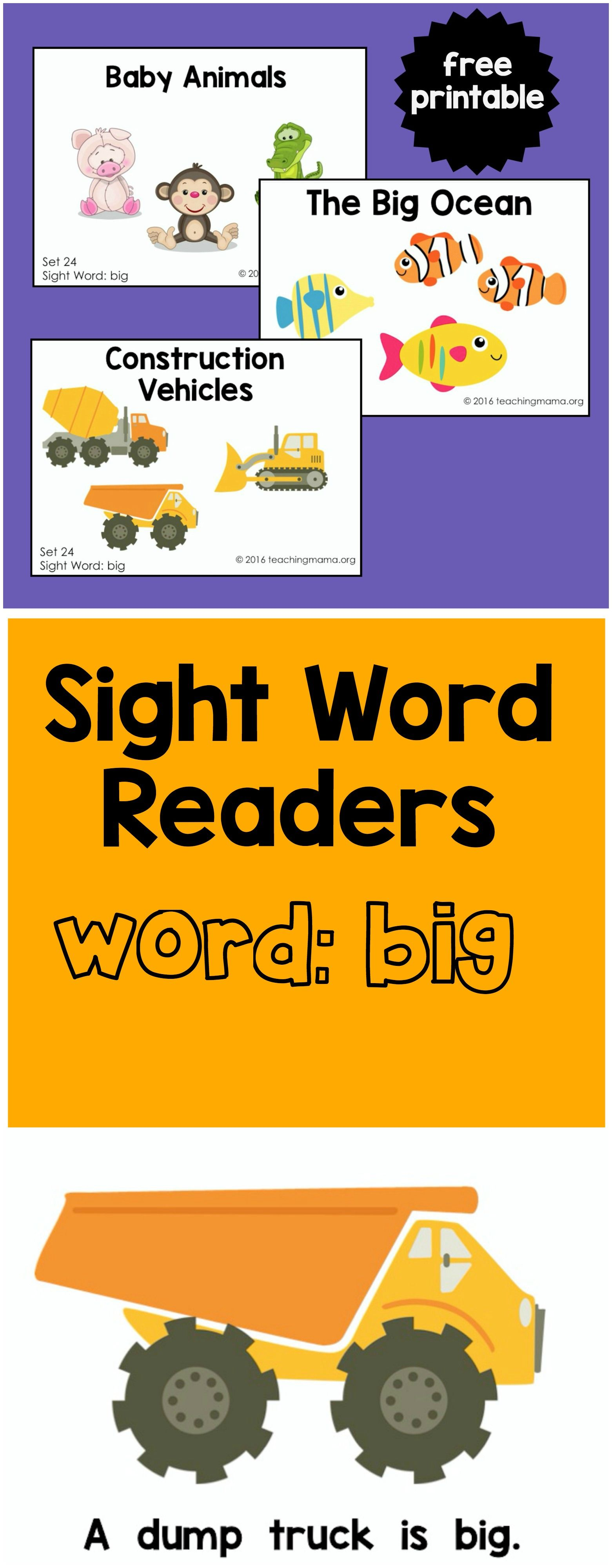 Sight Word Readers For The Word Big