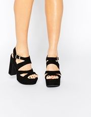 Daisy Street | Daisy Street Black Pom Ghillie Lace Up Heeled Sandals at ASOS
