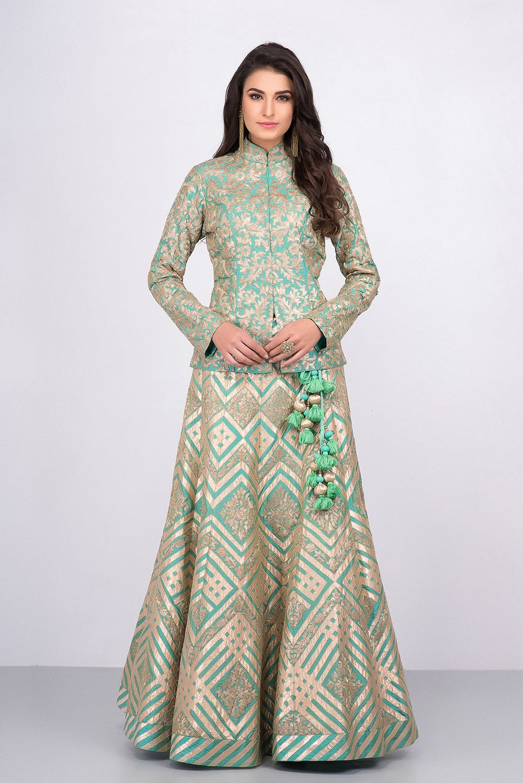 82d995f586c7a MALVIKA TALWAR mint green floral motifs jacket blouse and embroidered skirt  set