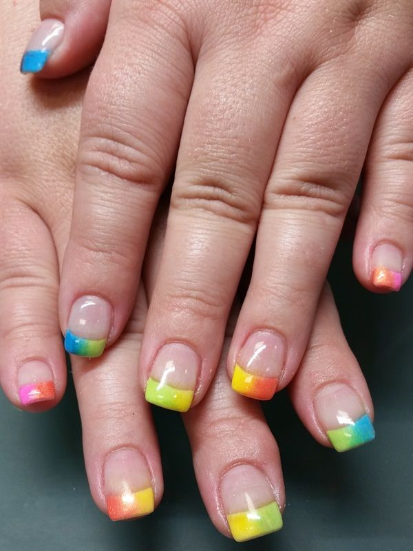 Day 220 Rainbow Tip Nail Art
