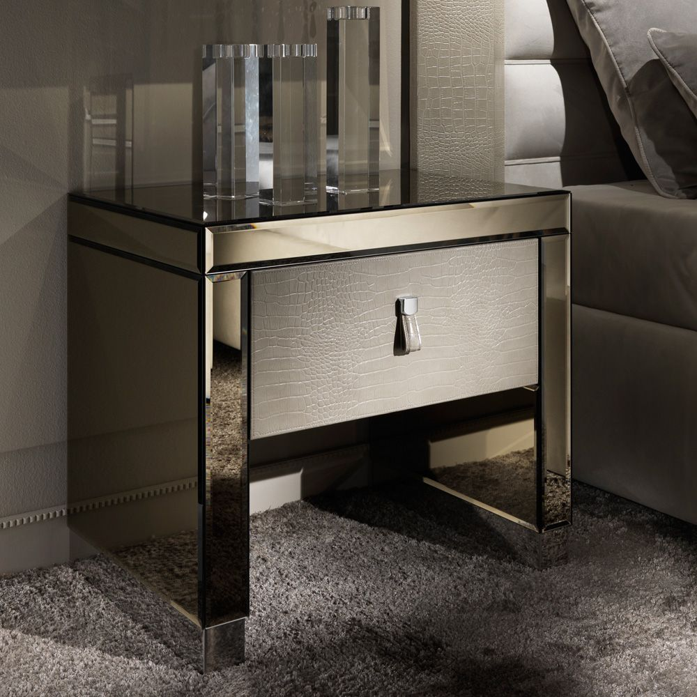 Modern Mirrored Alligator Embossed Leather Bedside Table Leather