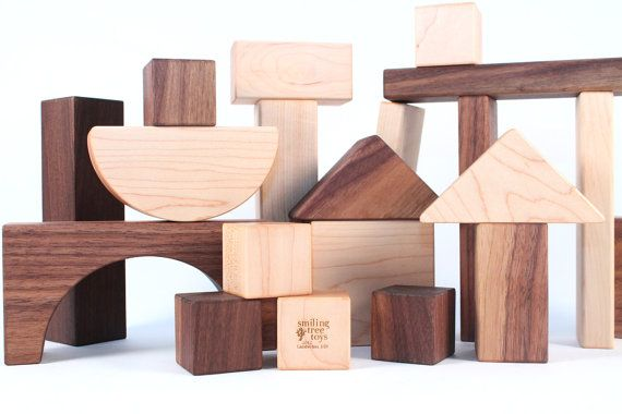 30 Piece Organic Wooden Blocks All Natural Wood Block Set Eco