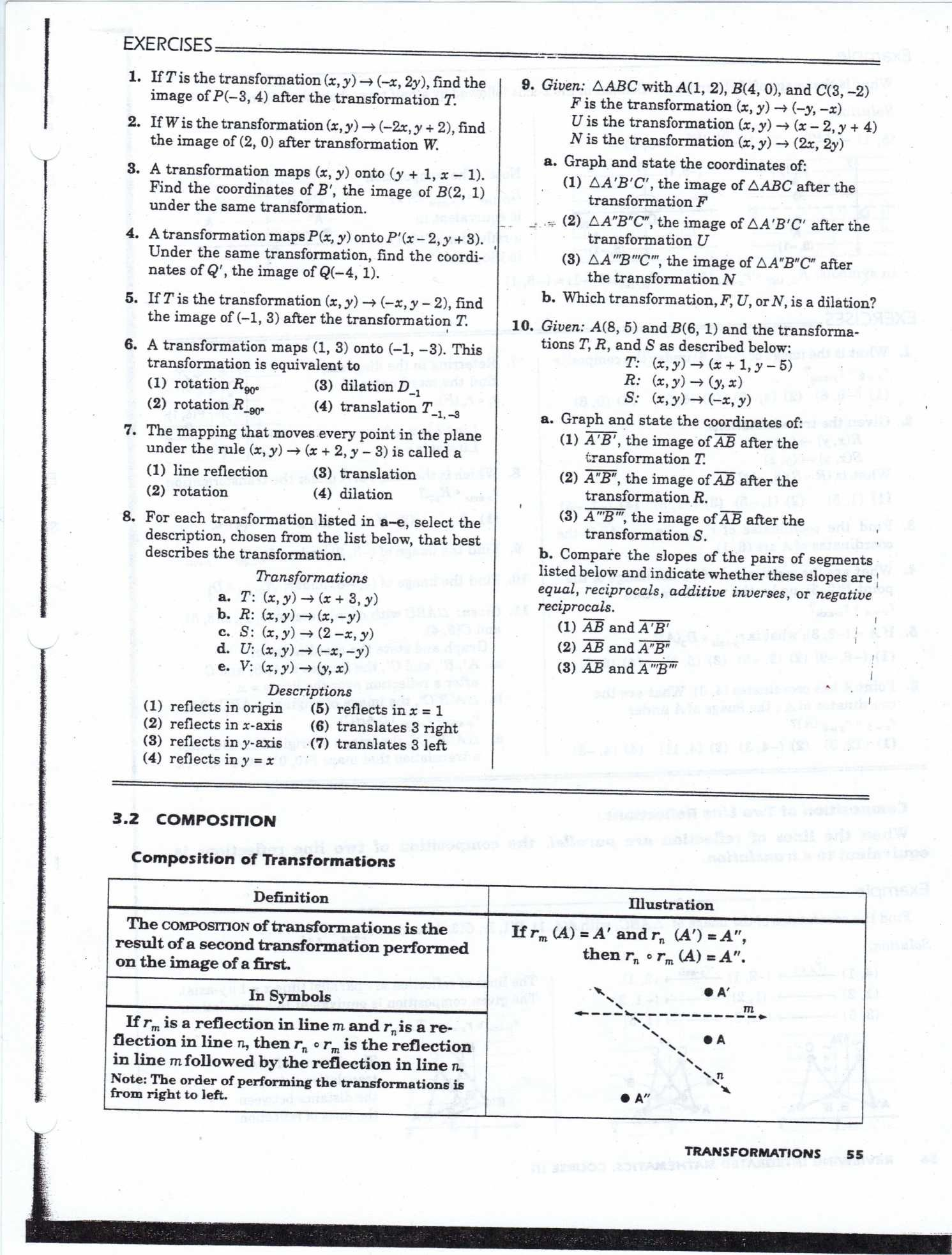 Geometry Transformation Composition Worksheet Answers