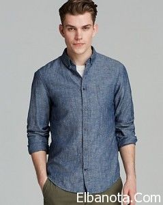 قمصان رجالى كاجول 2014 Denim Button Up Up Shirt Shirts