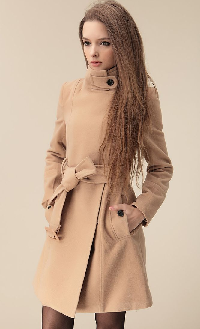 Camel Wide Lapel Belt Oblique Zipper Wool-blend Coat | Women's ...