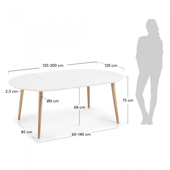 table oqui extensible ronde 120 200 x