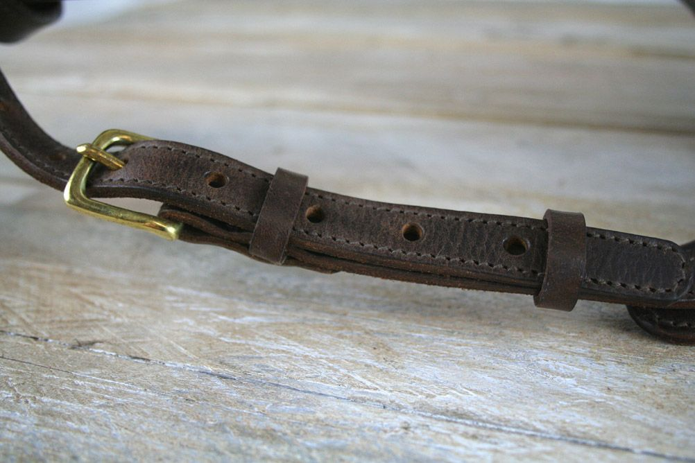 Distressed Guitar Strap Full Grain Buffalo Leather Stitched