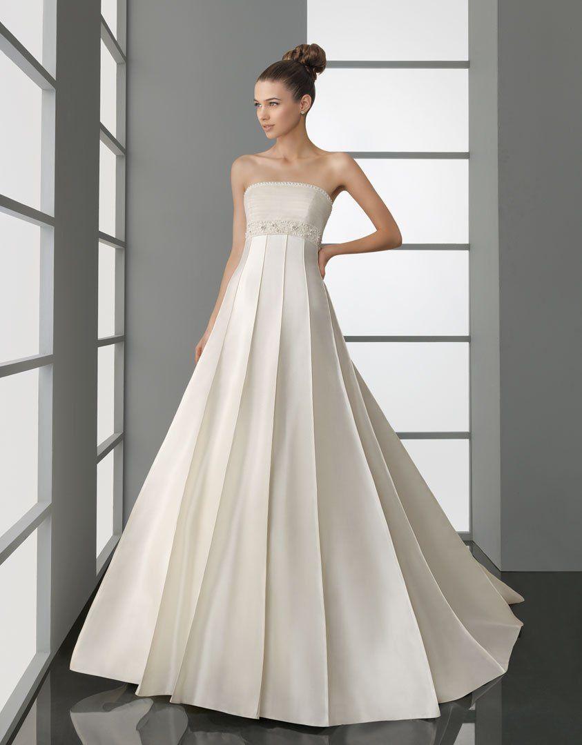 China Custom A - Line Strapless Satin Pleat Wedding Dresses with ...