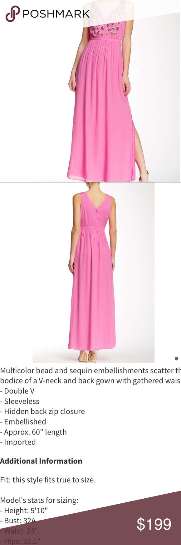 Shoshanna beautiful embellished dress with slit absolutely stunning
