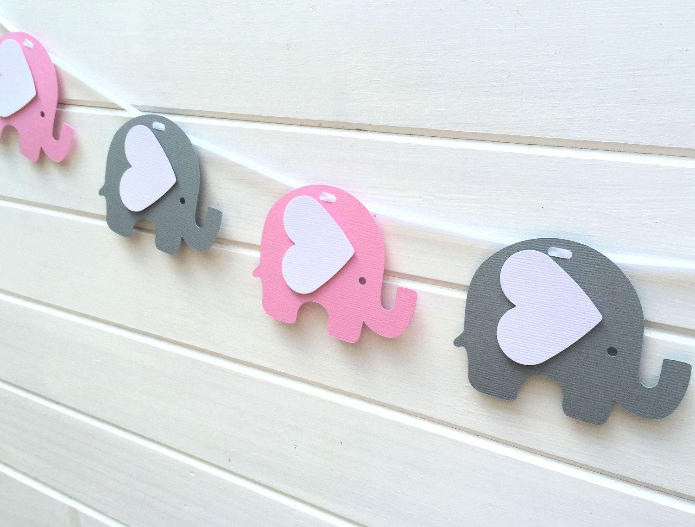 Guirnalda de rosa y gris elefante beb ducha decoraci n - Cuartos de bebe ...