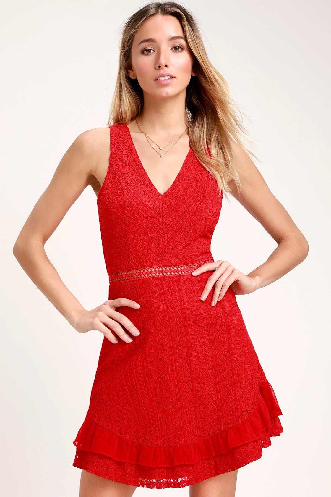 9d5453865a8 Cute Lace Dress - Red Dress - Ruffle Dress - Skater Dress