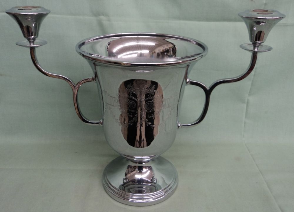 Vintage Art Deco Combination Champagne Cooler Candle Holder CHROME!