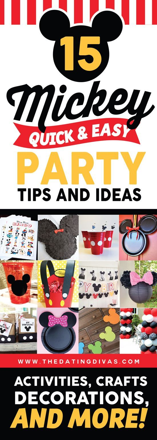 Check out these super FUN Mickey and Minnie Mouse party ideas! Quick DIY decorations, activities, and so much more! www.TheDatingDivas.com